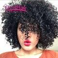 7a Cabelo Encaracolado Brasileira Com Fechamento 3 bundles Profunda Curly Weave Cabelo humano Com Fechamento Afro Kinky Curly Virgem Cabelo Com fechamento