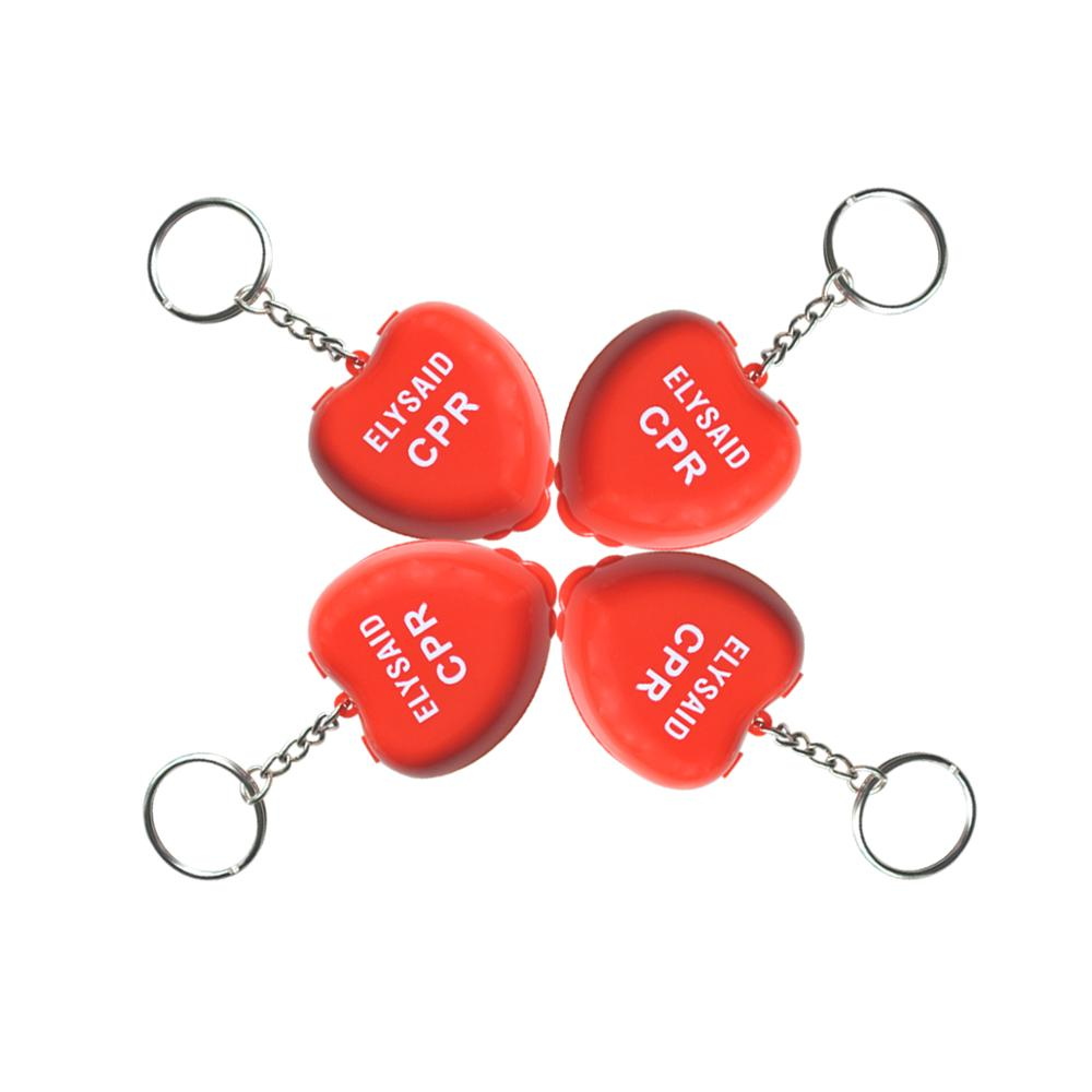 50Pcs Protect CPR Masks KeyChian Mouth To Mouth Rescue Shields in mini Heart Box Red Emergency