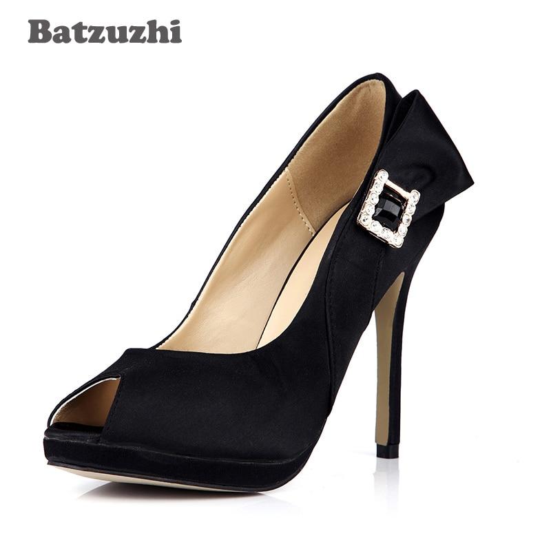 850da14129052 Batzuzhi 2018 Hot Sprzedaży Czarne Zamszowe Buty Damskie Open Toe 12 cm z 1  cm Platformy Klamry Dekoracji Kobiety Sukienka buty Party/Biura