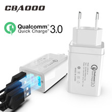18W Quick Charge 3.0/2.0 USB Charger QC3.0 Wall Mobile Phone Charger for iPhone X Xiaomi Mi 9 Tablet iPad EU QC Fast Charging(China)