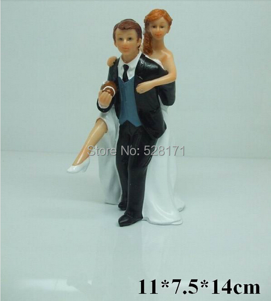 Free Shipping Football Themed Wedding Cake Topper Sporty Bride Groom Funny Soccer
