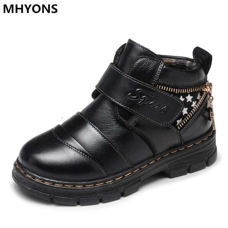 2018 autumn and winter new warm leather boots quality children snow boots boys boots comfortable waterproof children's shoes азимов а путеводитель по библии ветхий завет