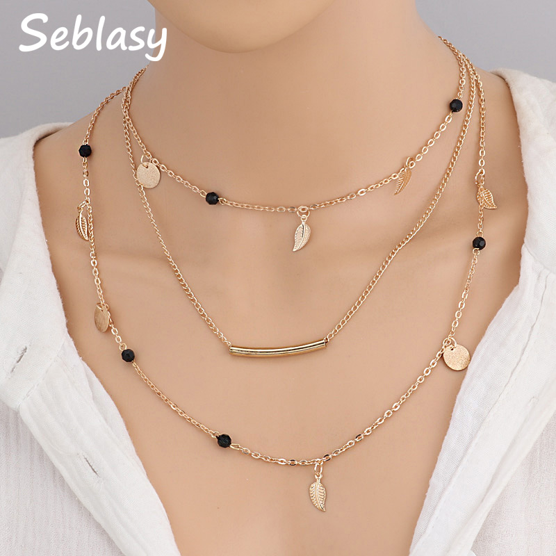 85946795b6484 US $1.12 30% OFF|Seblasy 3 Layer Bohemian Clavicle Chain Black Beads Alloy  Sequins Stripe Leaves Chain Necklaces & Pendants for Women Jewelry-in Chain  ...