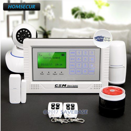 HOMSECUR App Controlled Wireless GSM SMS Autodial Burglar Alarm System with IP Camera цена