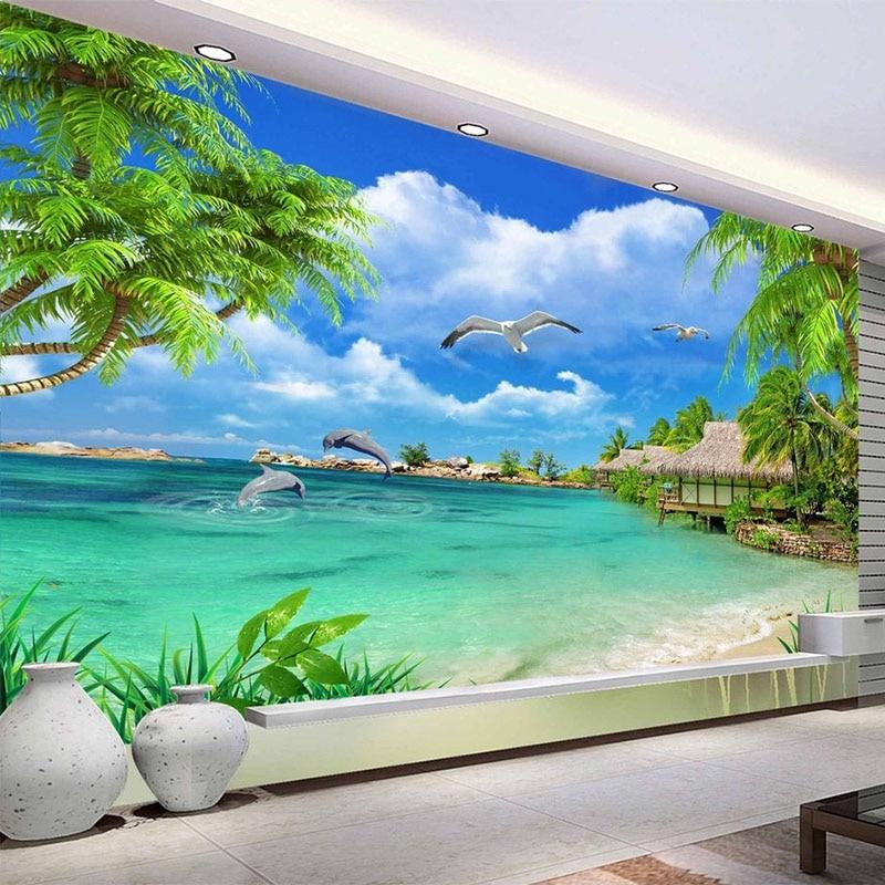 HD Coconut Tree Seaside Landscape Nature Wallpaper Living Room Theme Hotel Maldives Beach 3D Mural Papel De Parede 3D Paisagem