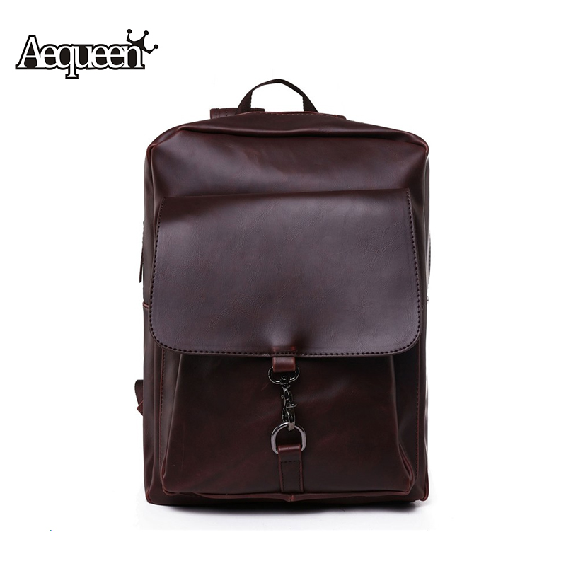 Fashion Women Men PU Leather Backpack School Bag Travel Bookbag Casual Girls Boys College Bags Solid Black Coffee Satchel Unisex - Aequeen Wallet Store store