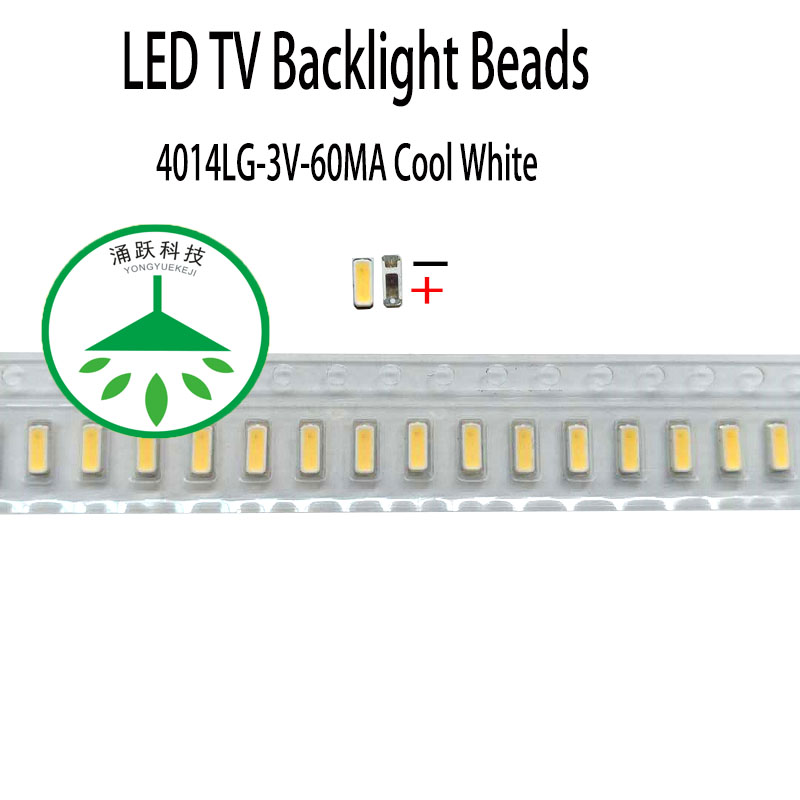 200pcs/lot Maintenance of commonly used led lcd tv backlight 3V patch beads 4014 3v 60ma cool white for repair TV backlight image