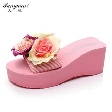 Woman High Platform Slippers 2017 Summer New Sandals Handmade Colorful Flowers Slides High Wedge Heels Beach Slippers