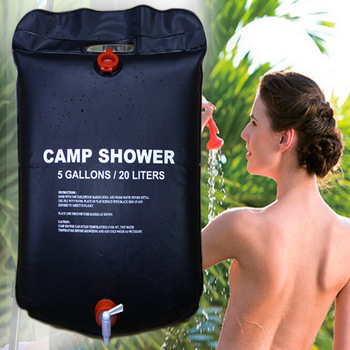 20L Water Bag Foldable Solar Energy Heated Camp PVC Shower Bag Outdoor Camping Travel Hiking Climbing BBQ Picnic Water Storage