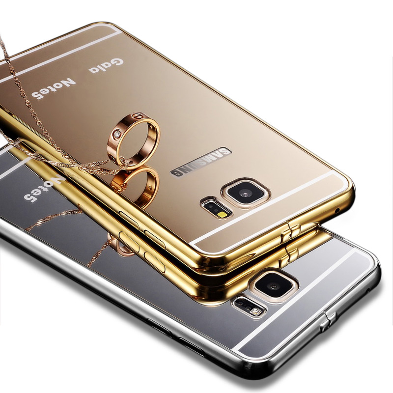Case For Samsung Galaxy Note 5 N9200 N920t N920 N920p Project Noble Coque Gold Acrylic Ultra Thin Plating Aluminum+PC Cover