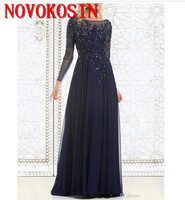 Elegant Navy Blue Mother of The Bride Dresses Chiffon See Sheer Long Sleeves Appliques Sequin Evening Party Dress