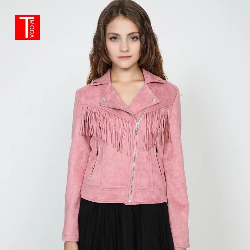 2018 Spring Autumn New Women Soft   Suede   Faux   Leather   Jacket Lady Fall Tassel Coat Biker Pink Matte Zippers Outerwear