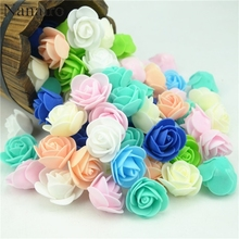 50pcs/lot Mini PE Foam Rose Flower Head Artificial Rose Flowers Handmade DIY Wedding Home Decoration Festive & Party Supplies
