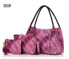 Mujeres de la marca bolso 3 sets vintage impreso bolso de mano de cuero artificial grande de hombro de las señoras monederos y bolsos H234