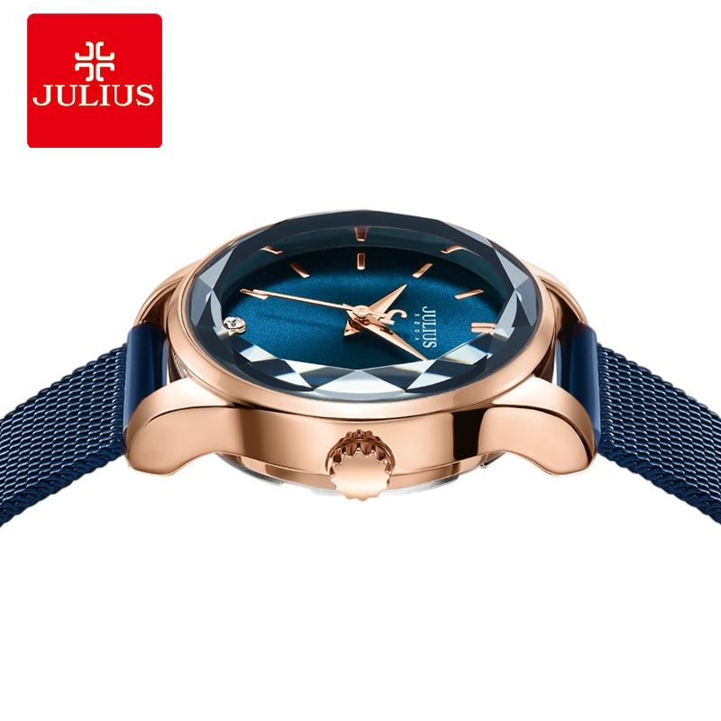 줄리어스 시계 불규칙한 크리스탈 유리 여성 슬림 패션 시계 심플 디자인 팔찌 시계 라운드 다이얼 로즈 골드 시계 JA 1040-에서여성용 시계부터 시계 의  그룹 3