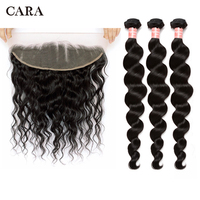 Peruvian Hair Bundles With Closure Loose Wave 3 Bundles With Frontal CARA Remy Human Hair Bundles With 13x4 Lace Frontal Closure
