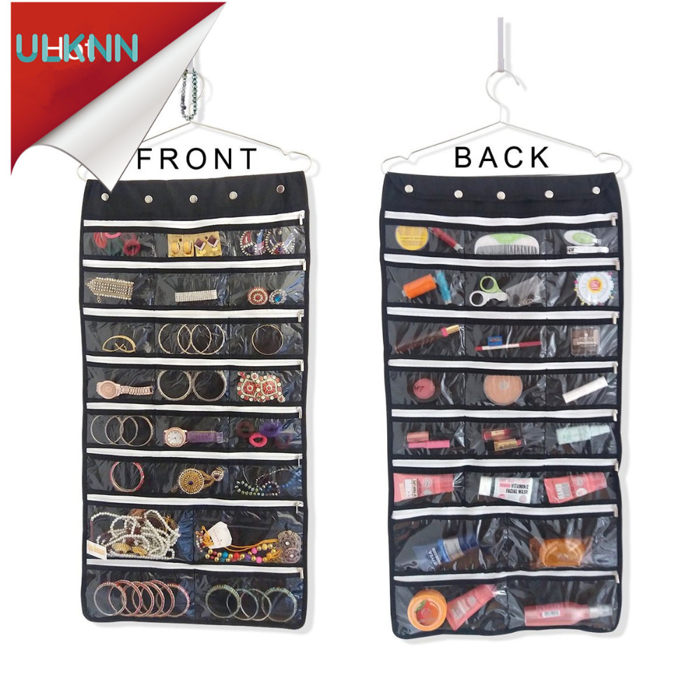 44 pockets oxford hanging jewelry organizer with zipper hanger black color double sided storage. Black Bedroom Furniture Sets. Home Design Ideas