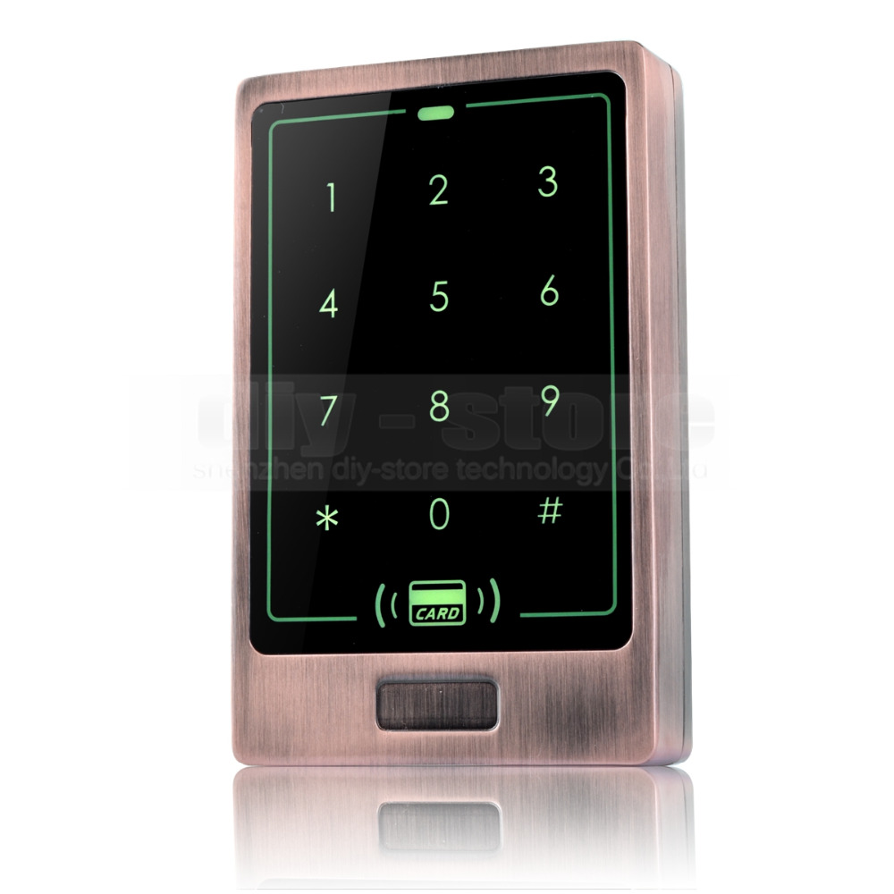 DIYSECUR 8000 Users Touch Button 125KHz Rfid Card Reader Door Access Controller System Password Keypad C20 metal rfid em card reader ip68 waterproof metal standalone door lock access control system with keypad 2000 card users capacity