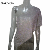 GACVGA 2017 Crystal Top Fashion Shirt One Shoulder Metal Chain T Shirt Backless Crop Top Sexy