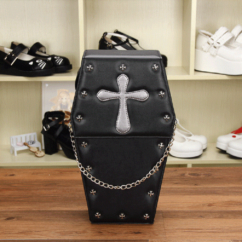Women Backpacks Lolita Bag Coffin Shape Pack Cross Metal Rivet Decoration Goth Punk Black Bags handi bag super value pack trash bags 30gal 69mil 36 x 29 5 black 60 box