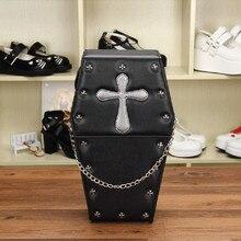 Женщины Рюкзаки Лолита Сумка Гроб Форма Пакет Металлический Крест Заклепки Украшения Goth Punk Черные Мешки