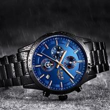 חדש ליגע הכרונוגרף למעלה מותג יוקרה עסקי גברים שעונים מקרית נירוסטה עמיד למים שחור שעון גברים Relogio Masculino