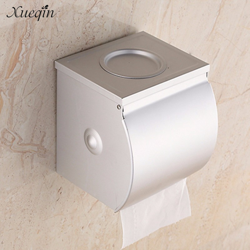 Xueqin Free Shipping Aluminum Waterproof Bathroom Toilet Paper Holder Roll Tissue Box With Ashtray Hotel Restaurant Paper Rack space aluminum paper holder roll tissue holder hotel works toilet roll paper tissue holder box waterproof design