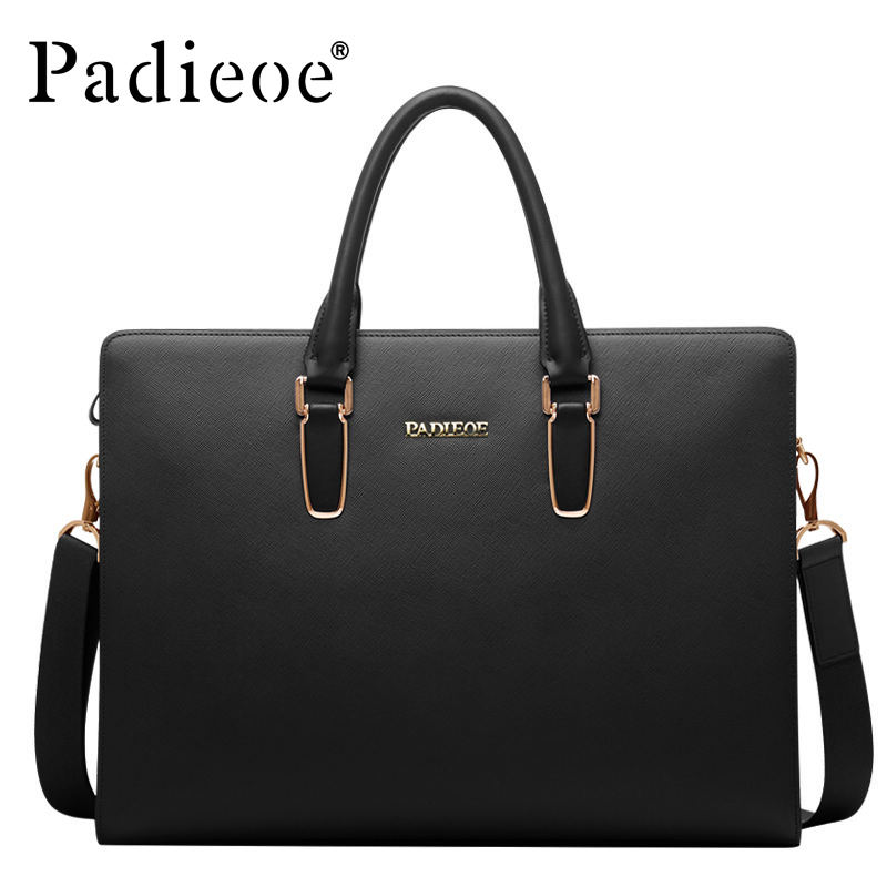 Padieoeo Brand Handbag Men Shoulder Bags Genuine Leather Casual Briefcase Cowhide Messenger Bag Men's Business Travel Laptop Bag padieoe men s genuine leather briefcase famous brand business cowhide leather men messenger bag casual handbags shoulder bags
