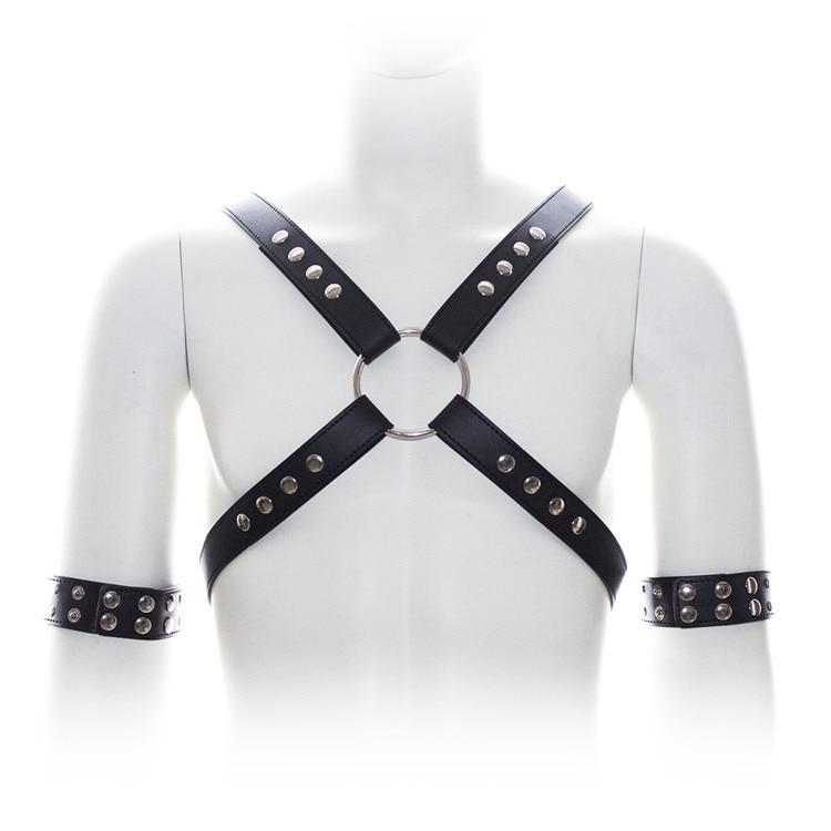 Fetish Bondage Set PU Leather Harness Belt Men Bondage Restraints Male Chest Strap With Arm Cuffs Body Harness Sex Toys For Men