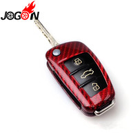 RED Carbon Fiber Car Auto Remote Key Case Cover For AUDI A6 TT A3 Q3 A1 A4 Q7 S3 Car styling