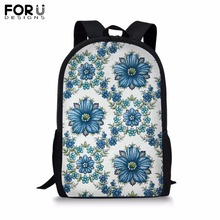 FORUDESIGNS Customize Picture Backpack for Teenager Girls Boy 16 inch Flower School Bag Childrens BookBag Student Mochila 2019