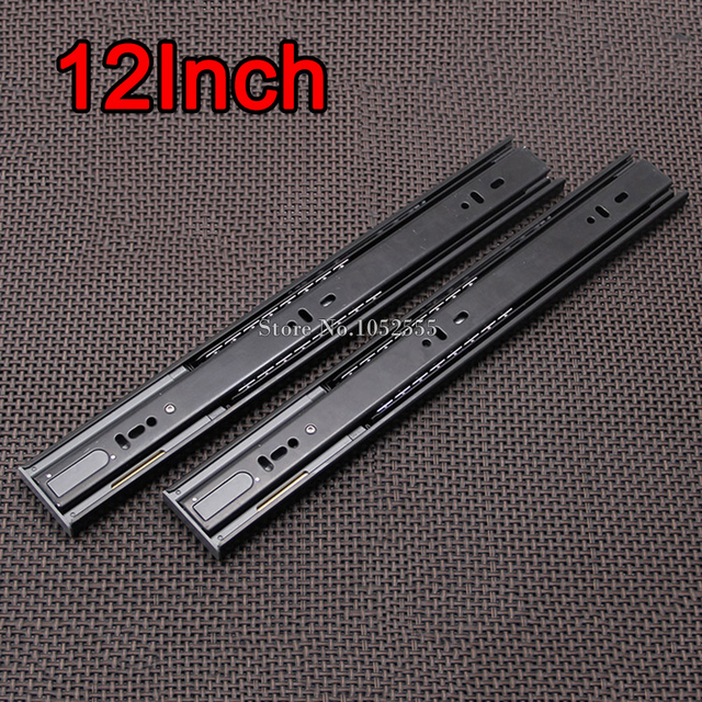 """High Quality 12"""" 3-fold Steel Ball Bearing Telescopic Cabinet Drawer Runners Slide Rails Furniture Accessories E191-2"""