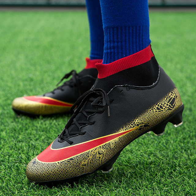 69e85eb45683ca ZHENZU New High Ankle Black Soccer Shoes Men Football Boots Soccer Cleats  Socks Sneakers Eu size 39-45 High Quality Dropshipping