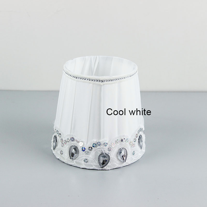 Small Wall Lamp Shades : Cool white wall lamp Fabric lampshade with Acrylic Beads small table lamp shades, E27-in Lamp ...