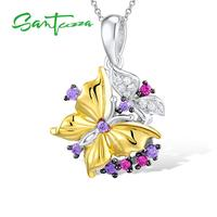 925 Sterling Silver Amethyst White Cubic Zirconia CZ Butterfly Pendant