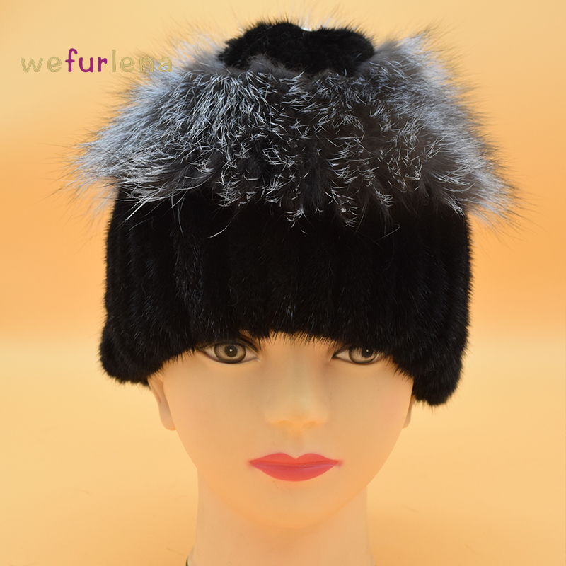 Women Fur Hat for Winter Genuine Mink Fur Skullies with Silver Fox Fur Pom Poms Top Beanies 2017 New Hot Sell Elastic Fur Cap new star spring cotton baby hat for 6 months 2 years with fluffy raccoon fox fur pom poms touca kids caps for boys and girls