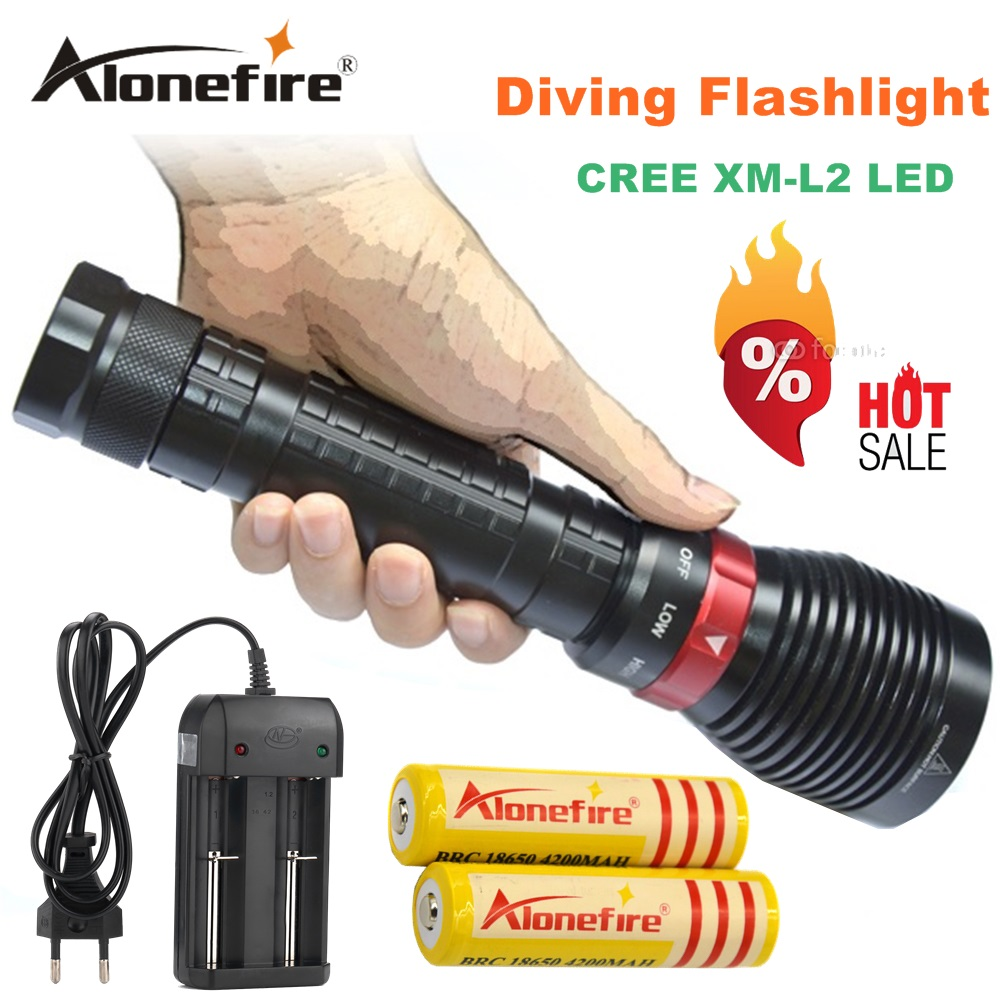 2500LM Diving XM-L2 LED Waterproof Flashlight Torch Underwater Diving Light Lanterna+2x18650 Battery 4200mAh+charger XY001 1set 3800m xm l2 waterproof underwater led diving flashlight torch lamp light lanterna with 2 rechargeable 18650 battery