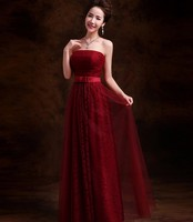 Happy bride 2016 new long section of Bra wine red evening dress fashion waist strap toast clothing for pregnant women TK591