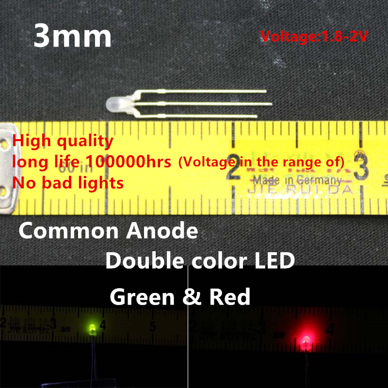 High Quality 20pcs LED 3mm Round Diffused Red & Green Double  Color Common Anode LED Diode Light Emitting Diode