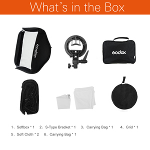 Image 2 - Godox Pro Verstelbare 60 cm x 60 cm Flash Soft Box Honeycomb Grid Kit met S Type Beugel Bowen mount Houder voor Speedlite Flash