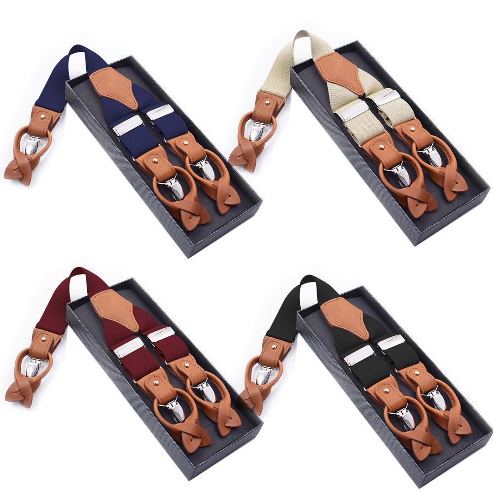 Fashion Suspenders Black Leather 6 Clips Braces Vintage Casual Suspensorio Tirante Trousers Strap Bretele Father/Husband's Gift