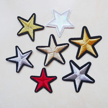 1Pc T-shirt Girl Star Hot melt Iron on Patches for Clothing Clothes Appliques Badge Stripes Pentagram Jeans Stickers Embroidered(China)