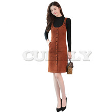 2019 Autumn summer Women Sleeveless Vintage Dress Fashion Office Lad Sundress CUERLY Strap Knee-Length Female LF605