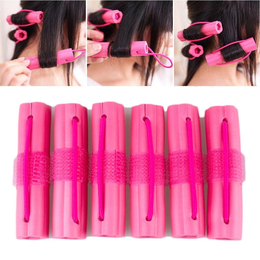 Rolos de cabelo em forma de flor, 6 pçs/set rosa, cacheador de cabelo macio, esponja dormir, diy, design de cabelo, modeladores, torção, ferramenta de cabeleireiro