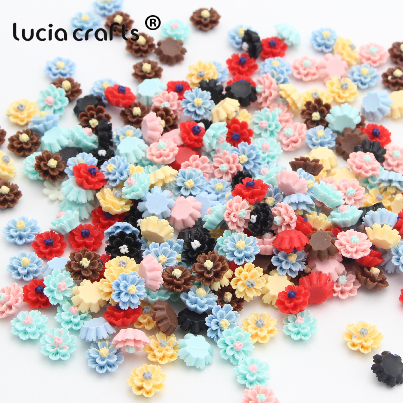 Lucia Crafts 50pcs Lot 12mm Multi Option Resin Flatback Flower Diy
