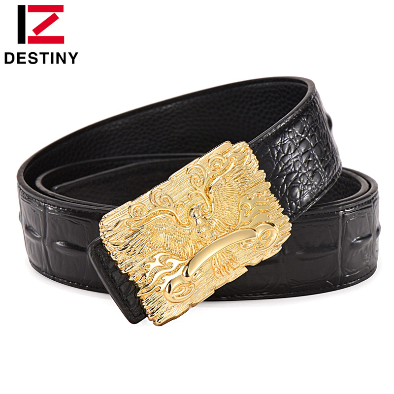 DESTINY Eagle Designer Belts Men Luxury Famous Brand Male Genuine Leather Strap Crocodile Wide Belt Silver Gold Ceinture Homme