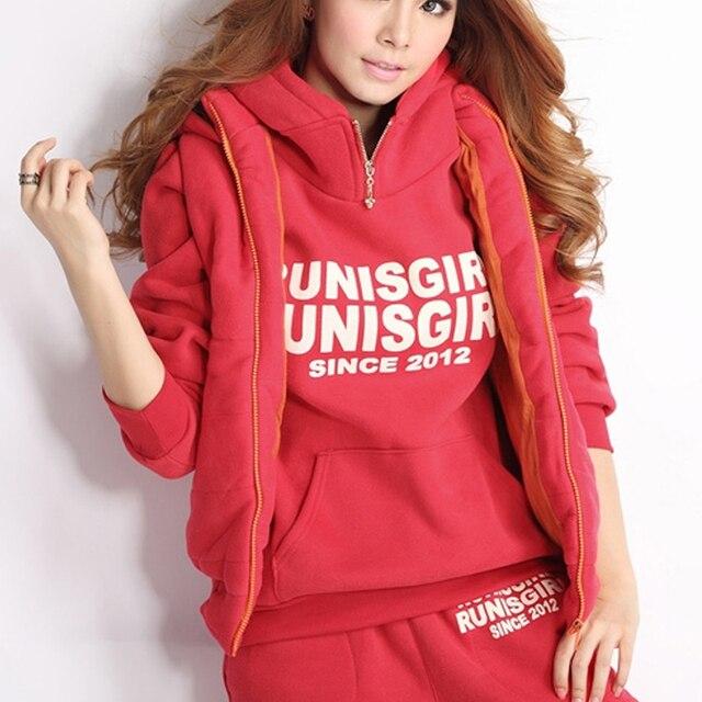 Three Pieces Fashion Thick Fleece Women Casual Sweatshirt Set Warm Autumn Winter Suit Printed Hoodies Tracksuits Q1704