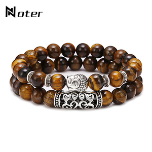 Noter 2pcs/set Couples Distance Bracelet Men Women Natural Lava Bracelet Stone Tiger eye Braclet Vintage Strand Braslet Pulseira(China)
