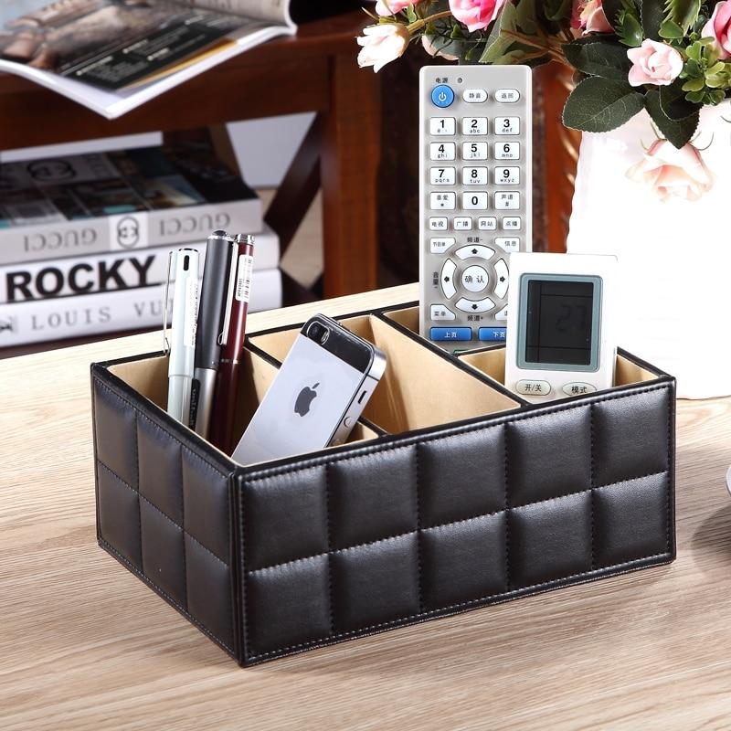 High Quality Luxury PU Leather Storage box Cosmetic Organizer Remote Control Phone Holder Home Office Organizer makeup organizer