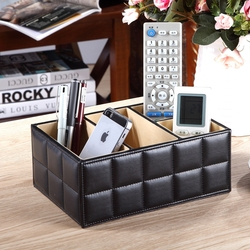 High Quality Luxury PU Leather Storage box Cosmetic Organizer Remote Control Phone Holder Home Office Organizer makeup organizer